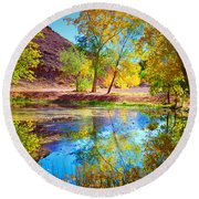 Autumn Colours In Moab Round Beach Towel