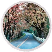 Autumn Country Road Round Beach Towel