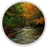 Autumn Creek Round Beach Towel