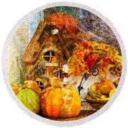 Autumn Display - Pumpkins On A Porch Round Beach Towel