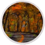 Autumn Drive Freedom And Beauty Round Beach Towel