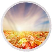 Autumn Fall Landscape Round Beach Towel