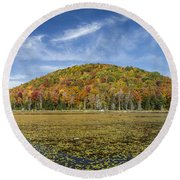 Serene Pond Vermont Autumn Panorama Round Beach Towel