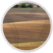 Autumn Fields Of Moravia Round Beach Towel