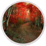 Autumn Fire Round Beach Towel