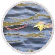 Autumn Floats Away Round Beach Towel