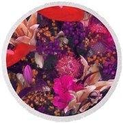 Autumn Flower Bouquet Round Beach Towel