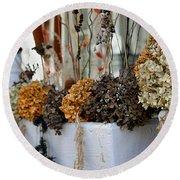 Autumn Flower Box Round Beach Towel