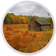 Autumn Foliage In Valley Forge Round Beach Towel