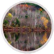 Autumn Foliage River Reflection Round Beach Towel