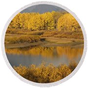 Autumn Foliage Surrounds A Pool In The Round Beach Towel