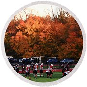 Autumn Football With Dry Brush Effect Round Beach Towel