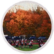 Autumn Football With Sponge Painting Effect Round Beach Towel