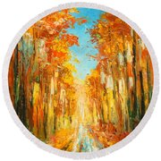 Autumn Forest Impression Round Beach Towel