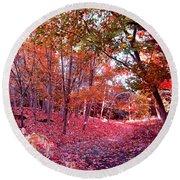 Autumn Forest Round Beach Towel