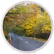 Autumn Forest Road Round Beach Towel