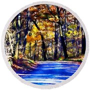 Autumn Forest Road V6 Round Beach Towel