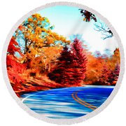 Autumn Forest Road V7 Round Beach Towel