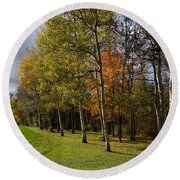 Autumn Forests And Fields Round Beach Towel