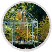 Autumn Gazebo Round Beach Towel