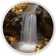 Autumn Gold And Waterfall Round Beach Towel by Leland D Howard