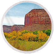 Autumn Gold On Highway 211 Going Into Needles District Of Canyonlands National Park-utah   Round Beach Towel