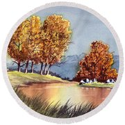 Autumn Golds Round Beach Towel