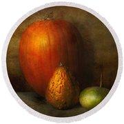 Autumn - Gourd - Melon Family  Round Beach Towel by Mike Savad