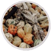 Autumn Gourds 2 Round Beach Towel