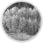 Autumn Grazing Horses Bonanza Bw Round Beach Towel by James BO  Insogna