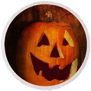 Autumn - Halloween - Jack-o-lantern  Round Beach Towel by Mike Savad