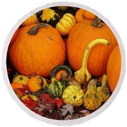 Autumn Harvest 5 Round Beach Towel