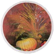 Autumn Harvest Round Beach Towel by Claire Spencer