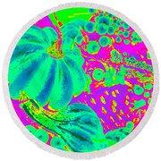 Autumn Harvest In Green And Purple - Pop Art Round Beach Towel