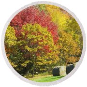 Autumn Hay Being Harvested In Maine Round Beach Towel