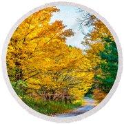 Autumn Hike - Paint Round Beach Towel