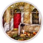 Autumn - House - A Hint Of Autumn  Round Beach Towel