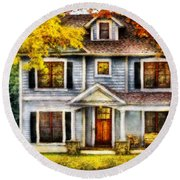 Autumn - House - Cottage  Round Beach Towel by Mike Savad