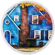 Autumn - House - Little Dream House  Round Beach Towel