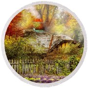 Autumn - House - On The Way To Grandma's House Round Beach Towel