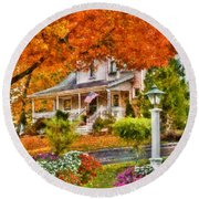 Autumn - House - The Beauty Of Autumn Round Beach Towel by Mike Savad