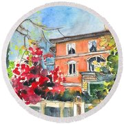 Autumn In Bergamo 01 Round Beach Towel