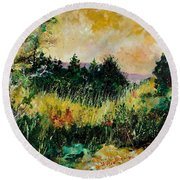 Autumn In Bois Jacques  Round Beach Towel