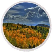 Autumn In Colorado Round Beach Towel