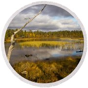Autumn In Finland Near Inari Round Beach Towel