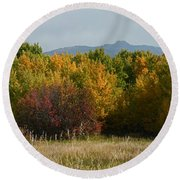 Autumn In Idaho Round Beach Towel
