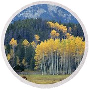 1m9359-autumn In Jackson Hole Ranch Country Round Beach Towel