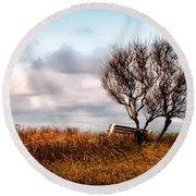 Autumn In Maine Round Beach Towel by Bob Orsillo