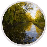 Autumn In Morrisville Pa Along The Delaware Canal Round Beach Towel