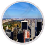 Autumn In New York City Round Beach Towel